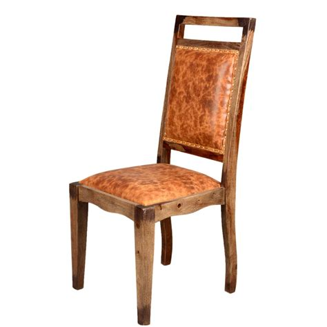 Solid Wood Dining Chairs Transitional Rustic Solid Wood Leather Dining Chair