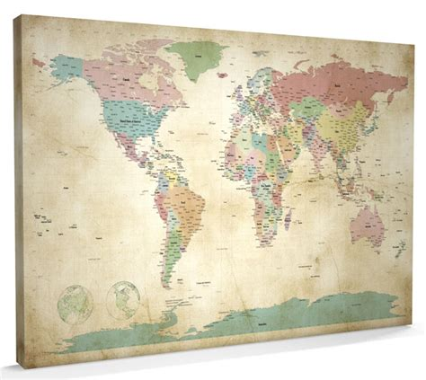 world map canvas map of the world map canvas a1 22x34 inch m946 ebay