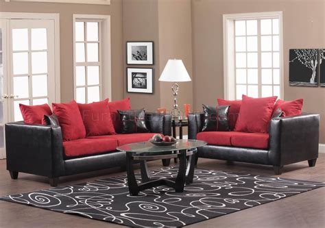red and black couch set red fabric and black vinyl modern sofa loveseat set w