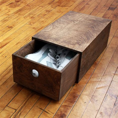 wood shoe box storage store your favorite kicks in this custom wood shoebox from