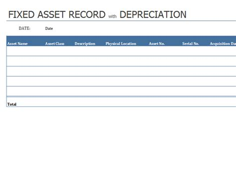 Inventories Office Com Fixed Asset Template