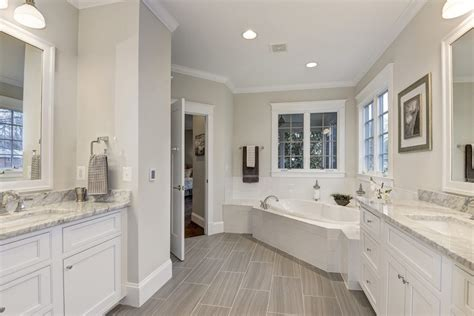 grey granite countertops bathroom craftsman with white