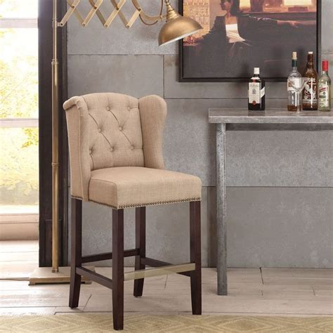 fabric counter stools with backs margo linen fabric tufted wing back counter stool by i