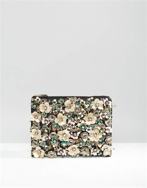 asos asos pretty floral embellished zip top clutch bag