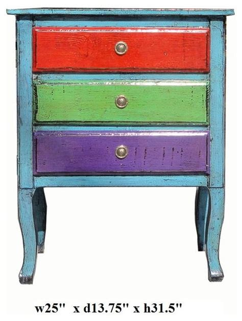 Colorful Bedside Table Multi Color Blue 3 Drawers Side End Table Nightstand