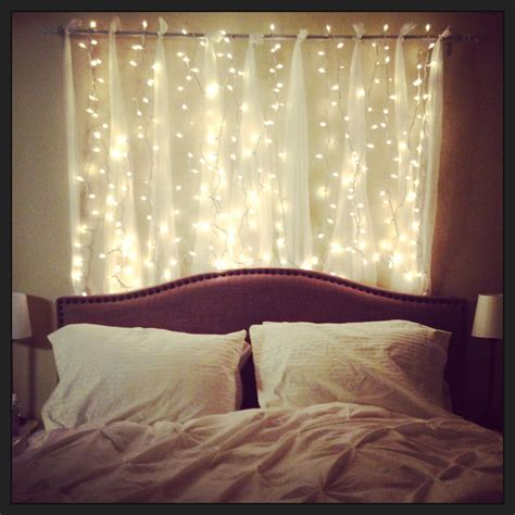 twinkle lights headboard  absolutely love  home inspiration string lights