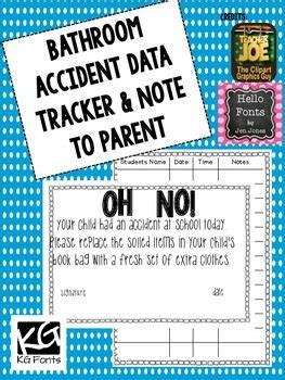bathroom accident data tracker and parent note by