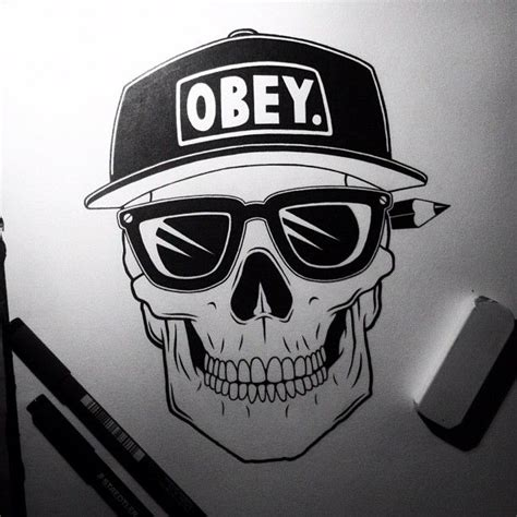 imagenes tumblr obey obey skull illustration by digitalcandy illustration