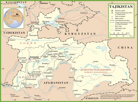tajikistan map large detailed political map of tajikistan with cities and towns