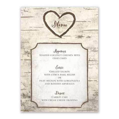 Wedding Invitation Menu Cards by Birch Tree Carvings Menu Card Invitations By