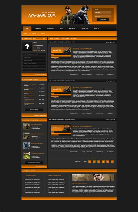 game website layout web design game layout 1 by daspancake on deviantart