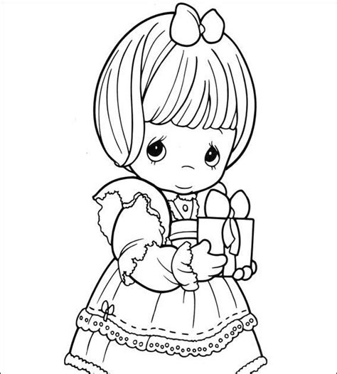 Girl With Gift Of Precious Moments Coloring Child Coloring Bible Precious Moment Coloring