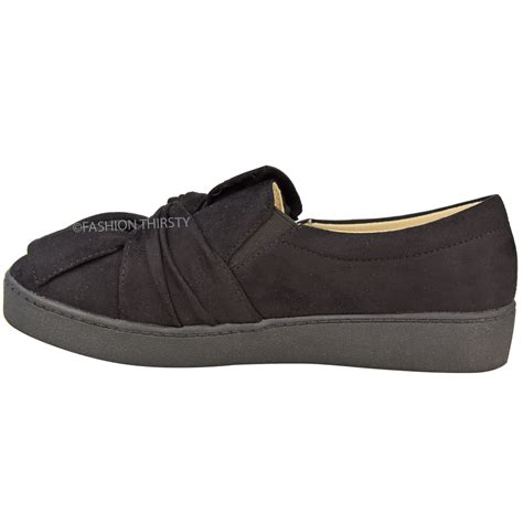 Bow Sneakers For 3 new womens trainers faux suede slip on flat bow