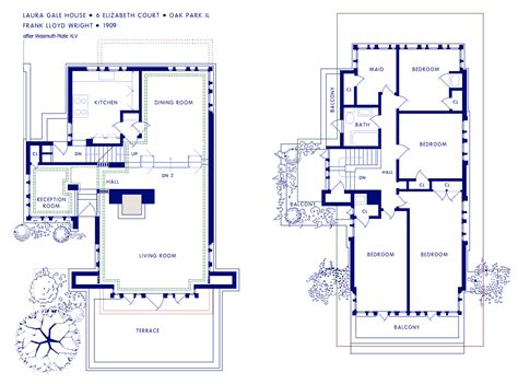 Frank Lloyd Wright Prairie Style House Plans Laura Gale House