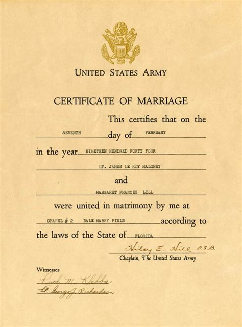 Us Marriage Records Florida Memory United States Army Certificate Of Marriage For Lt Leroy