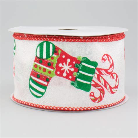 2 5 quot white christmas stocking ribbon 10 yards zxm bs69