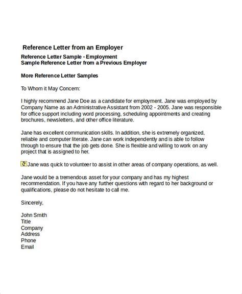 job reference letter templates sample
