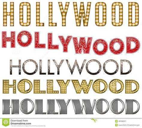 printable hollywood letters hollywood marquee burlesque word collection stock photo