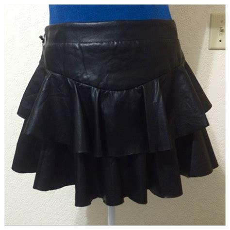 Faux Leather Ruffle Mini Skirt 75 express dresses skirts black faux leather