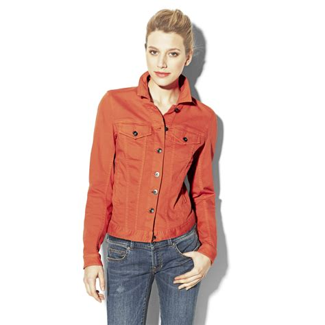 colored jean jackets lyst vince camuto colored jean jacket in