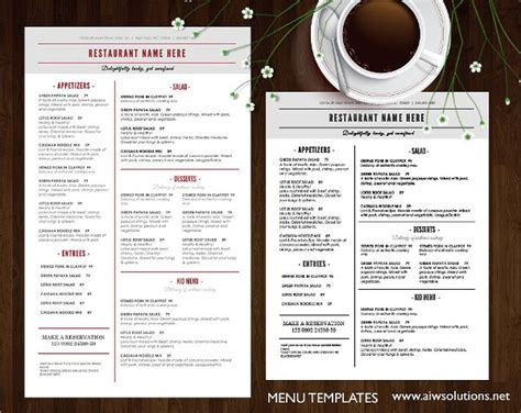 hotel menu templates 19 breakfast menu templates free premium