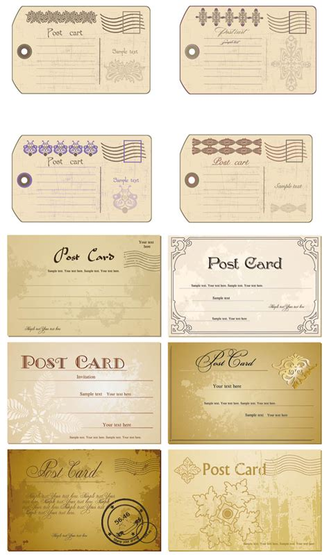 Retro Card Template by Vintage Card Templates Vector Free Stock Vector
