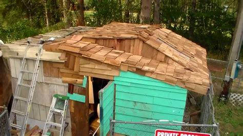 diy cedar shake roof part 2 of 2 on franken shed