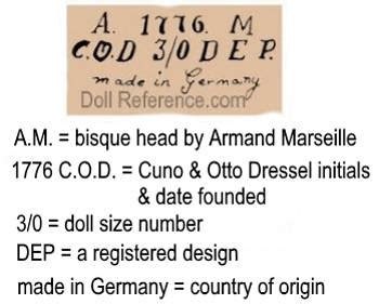 porcelain doll symbolism doll makers labels marks symbol images menu a to z
