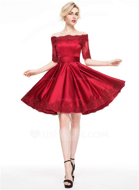 cocktail dresses a line princess the shoulder knee length satin