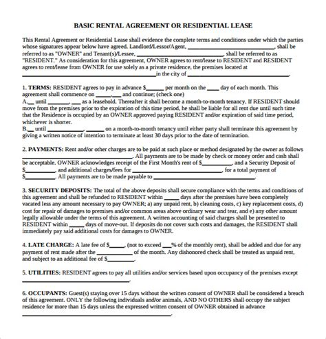 generic lease agreement template sle generic rental agreement 6 free documents in pdf