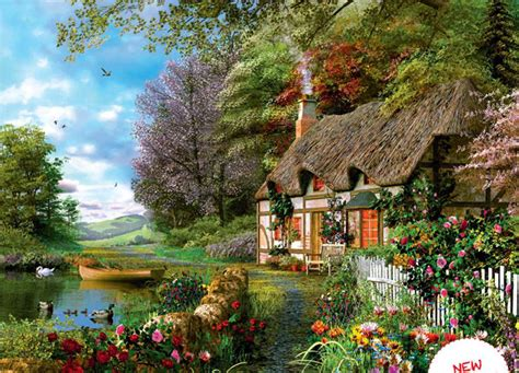 Cottage Looking Houses Ravensburger Jigsaw Puzzle Country Cottage