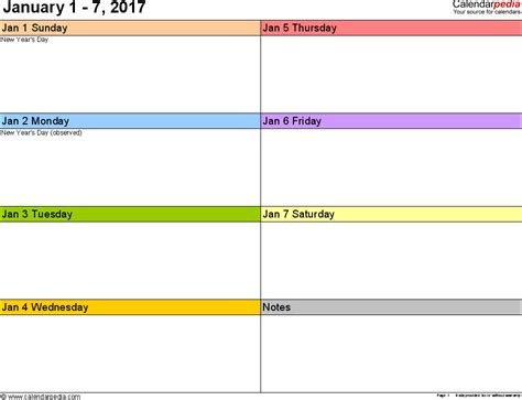 weekly template calendar weekly calendar 2017 for excel 12 free printable templates