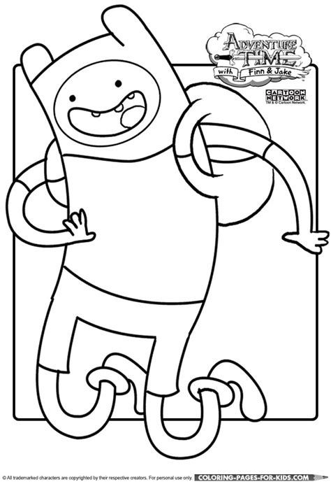 adventure time coloring page for kids to print finn the