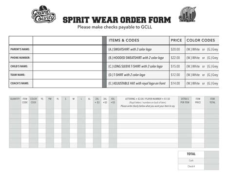 spirit wear order form template grant county ky league gcll spirit wear