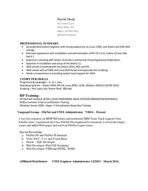 Resume Job In Linux by Djd Resume 9e Unix Linux Adminstrator