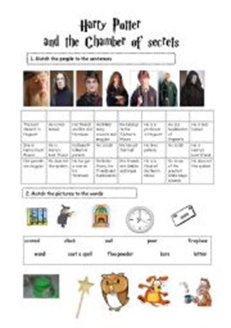 harry potter printable activity sheets harry potter and the chamber of secrets two pages