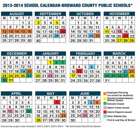 Middle School Calendar by Broward County School Calendar For 2013 14