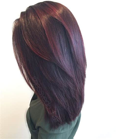dark lavender hair color formula red violet hair color with red balayage highlights on