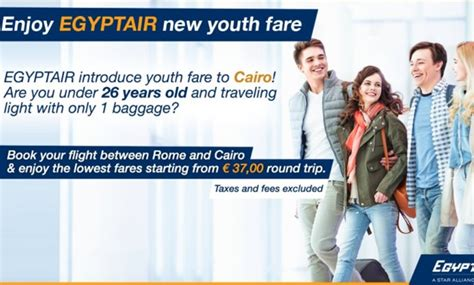 egyptair offers youth fare on rome cairo flights today