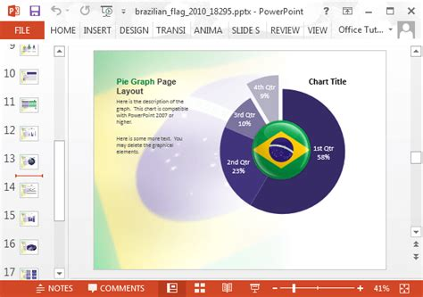 powerpoint 2010 themes brazil pie chart with brazil flag fppt