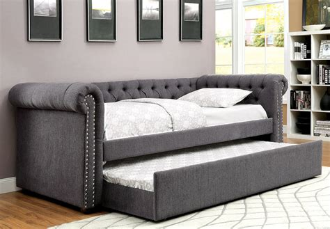 upholstered day bed grey upholstered daybed w trundle caravana furniture