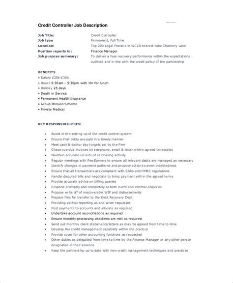 Credit Controller Description Template 10 Controller Descriptions Free Sle Exle Format Free Premium Templates