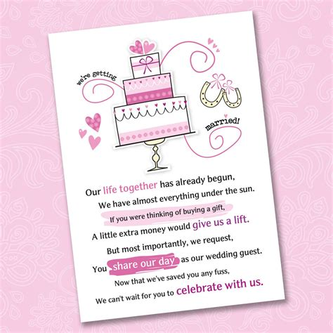 poems for bridal shower invitations money 25 x wedding poem cards for your invitations ask