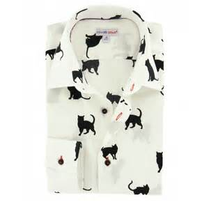 Interior For Small Flats Men S White Shirt With Black Printed Cats Small Collar