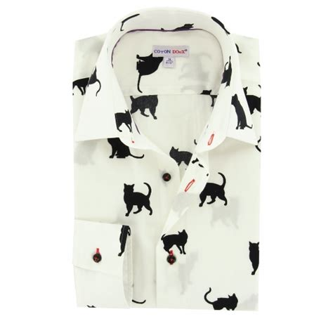 Tshirt Collar Cat s white shirt with black printed cats small collar