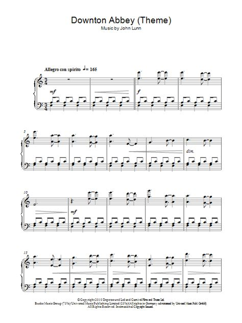 Theme Song Downton Abbey | downton abbey theme sheet music direct
