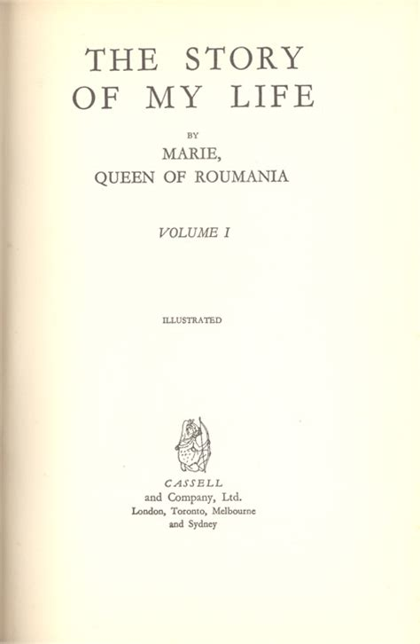 the title the story queen marie of romania the story of my life volume one title page