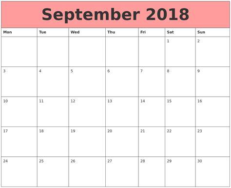 Calendars That Work Printable September 2018 Calendars That Work
