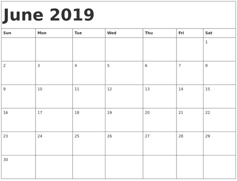 june  printable calendar templates   holidays