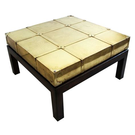 signed sarreid brass coffee table walnut wood base glass
